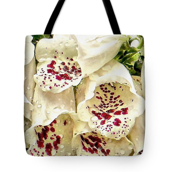 White Foxgloves With Raindrops Tote Bag