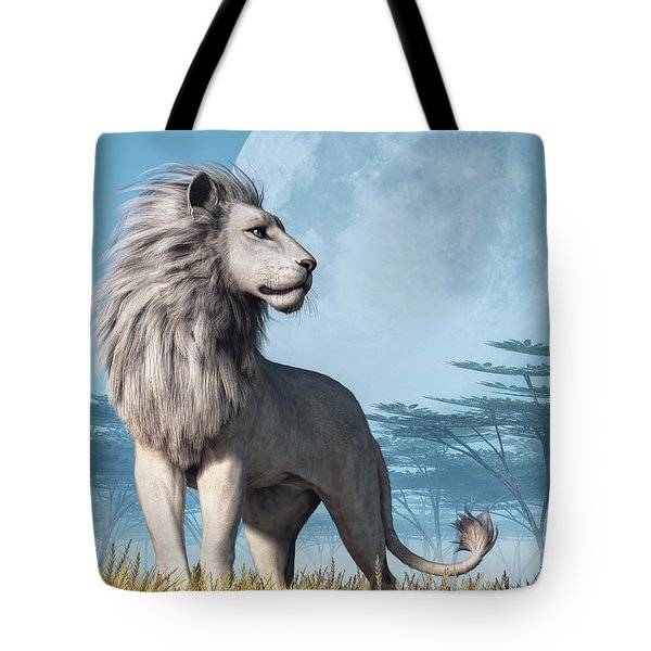 Tote Bag featuring the digital art White Lion And Full Moon by Daniel Eskridge