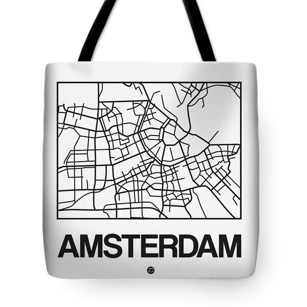 White Map Of Amsterdam Tote Bag