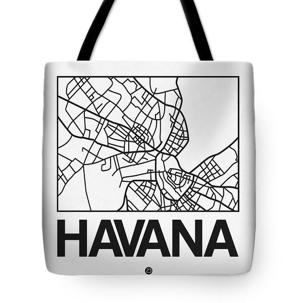 White Map Of Havana Tote Bag