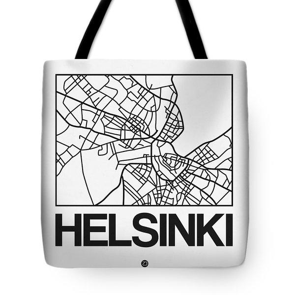 White Map Of Helsinki Tote Bag