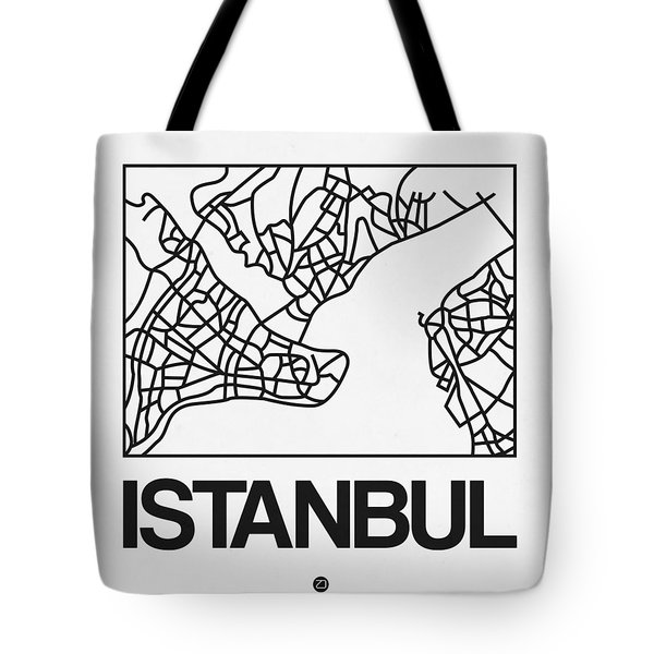 White Map Of Istanbul Tote Bag