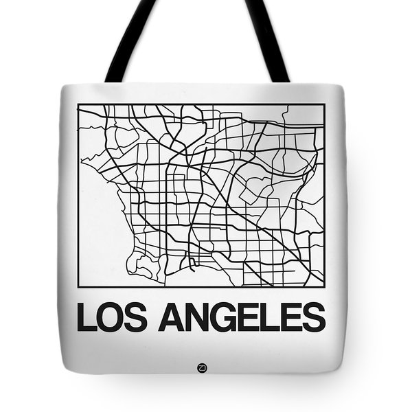 White Map Of Los Angeles Tote Bag