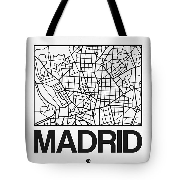 White Map Of Madrid Tote Bag