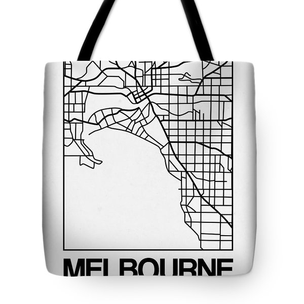 White Map Of Melbourne Tote Bag
