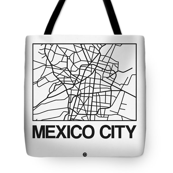 White Map Of Mexico City Tote Bag