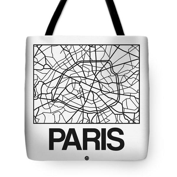 White Map Of Paris Tote Bag