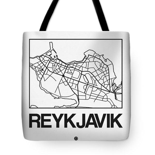 White Map Of Reykjavik Tote Bag