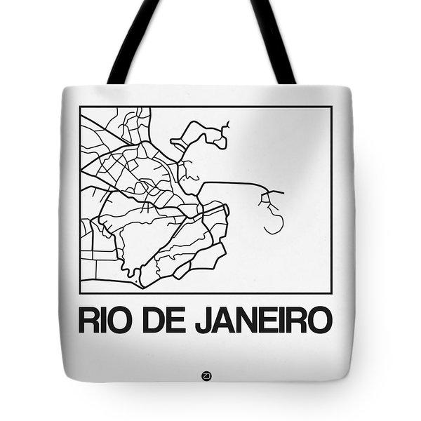 White Map Of Rio De Janeiro Tote Bag