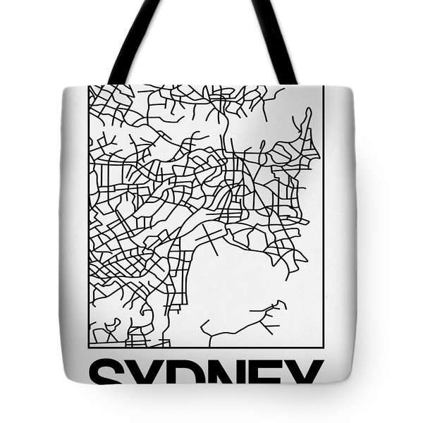 White Map Of Sydney Tote Bag
