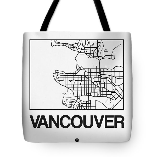 White Map Of Vancouver Tote Bag