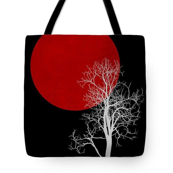 White Night Tree Tote Bag