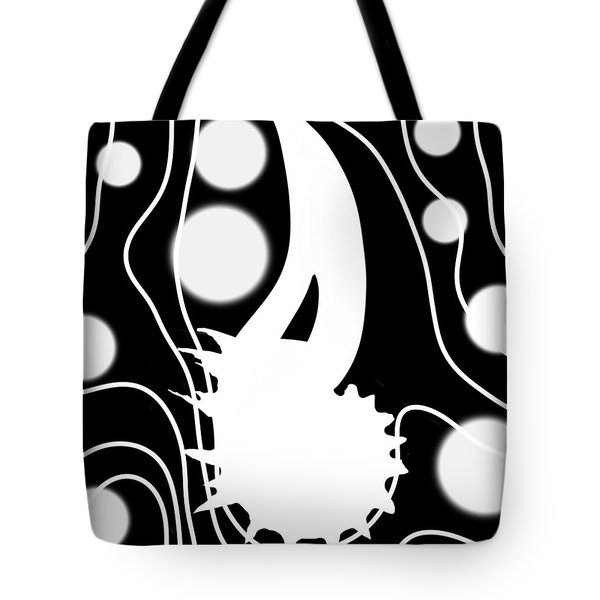 White On Black Lost Tail Tote Bag