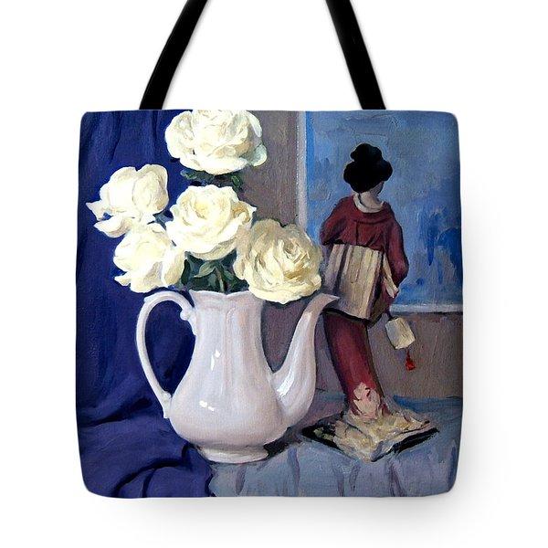 White Roses And Geisha View Tote Bag