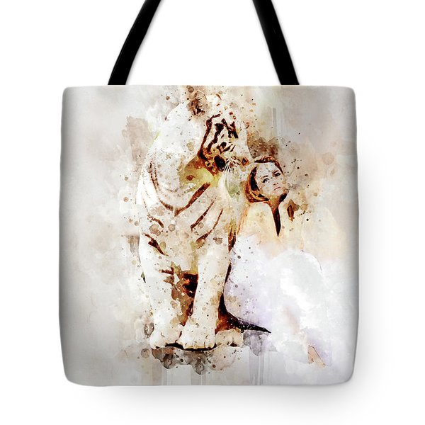 White Tiger And Woman Tote Bag