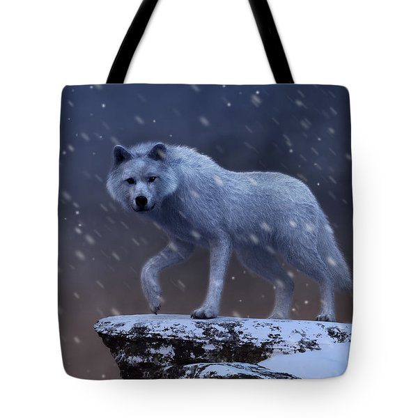 Tote Bag featuring the digital art White Wolf In A Blizzard by Daniel Eskridge