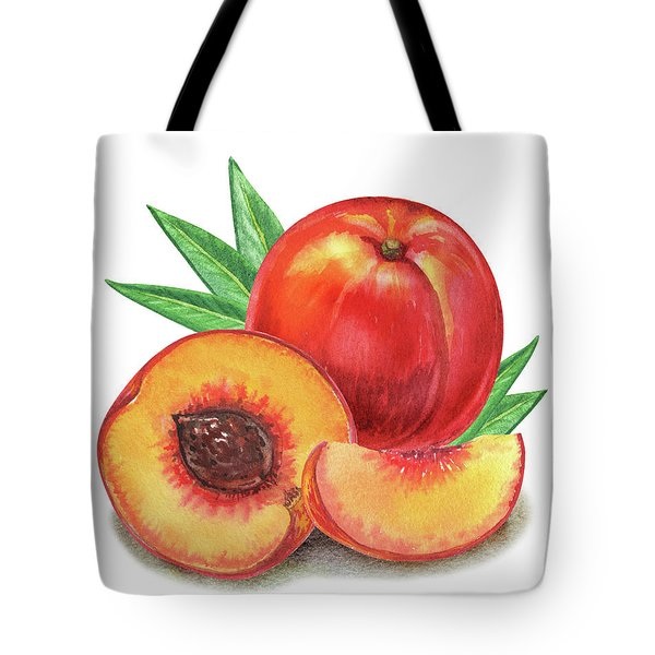 Whole And Cut Peach Watercolor Illustration  Tote Bag