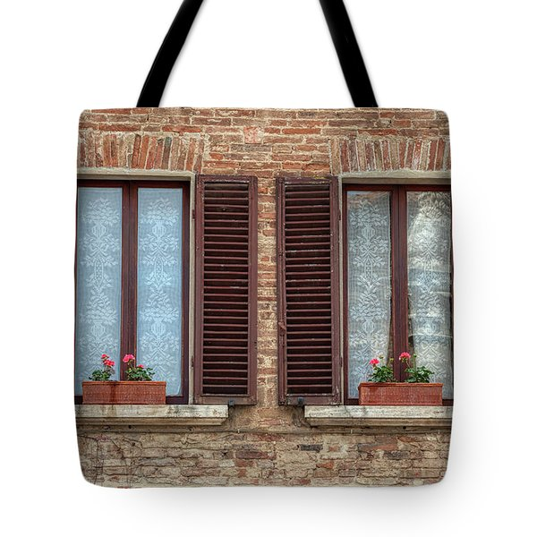 Tote Bag featuring the photograph Window Flowers Of Tuscany by David Letts