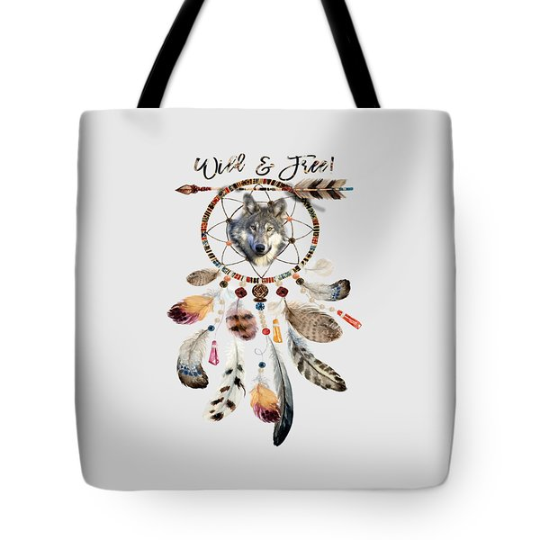 Tote Bag featuring the mixed media Wild And Free Wolf Spirit Dreamcatcher by Georgeta Blanaru