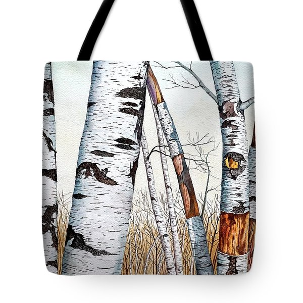 Wild Birch Trees In The Forest In Watercolor Tote Bag