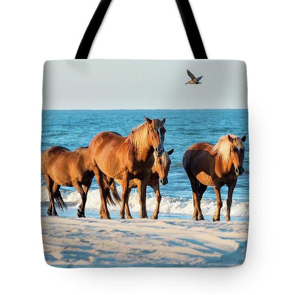 Wild Colonial Spanish Mustangs Of Carova Tote Bag