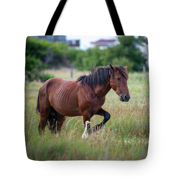 Wild Horse Cattle Egret Tote Bag