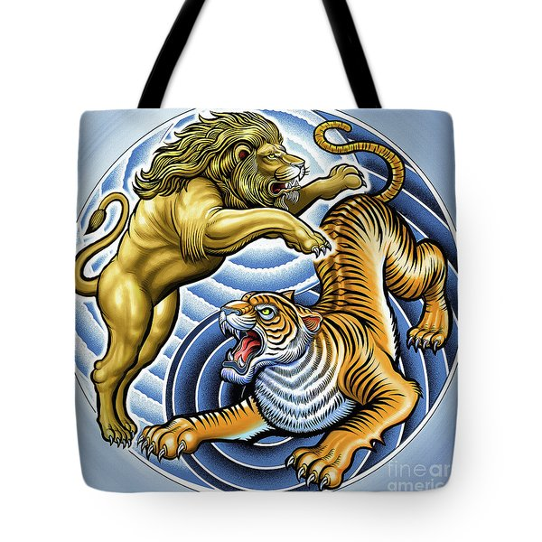 Wild Lion And Tiger  Tote Bag