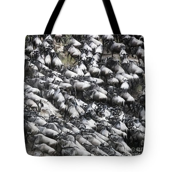 Wildebeest Scramble Out Of The Mara River Tote Bag