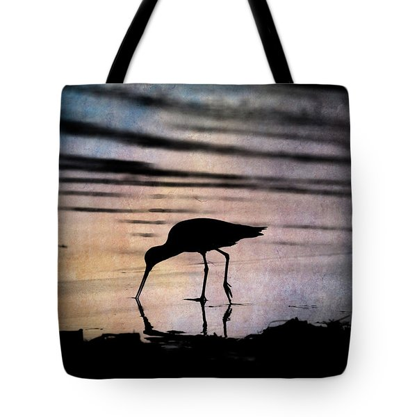 Tote Bag featuring the photograph Willet At Sunset by John Rodrigues