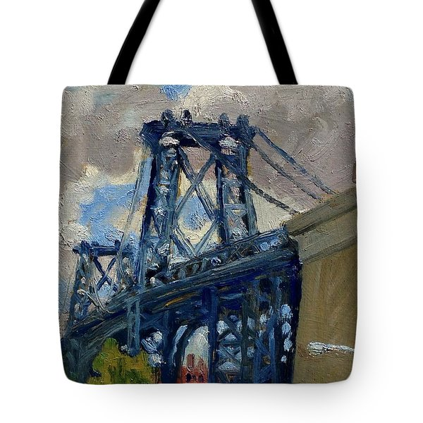 Williamsburg Bridge Nyc Cloudy Tote Bag