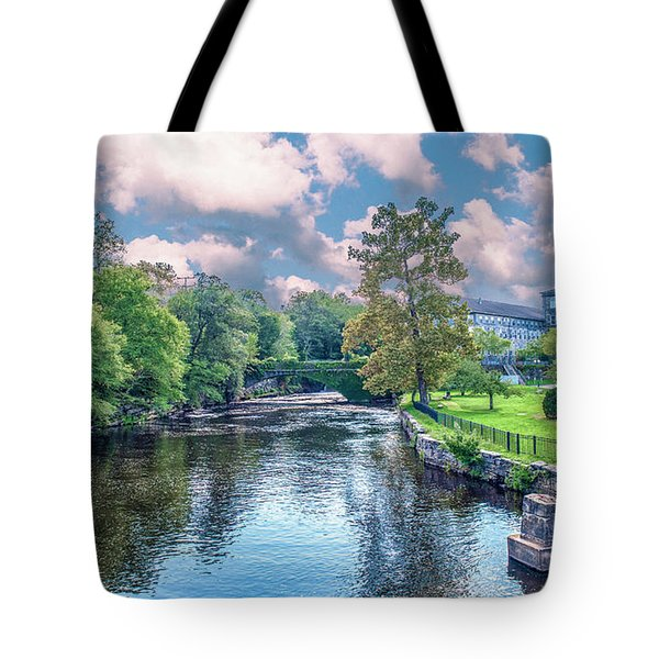 Willimantic River With Clouds Tote Bag
