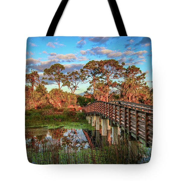 Tote Bag featuring the photograph Winding Waters Boardwalk by Tom Claud
