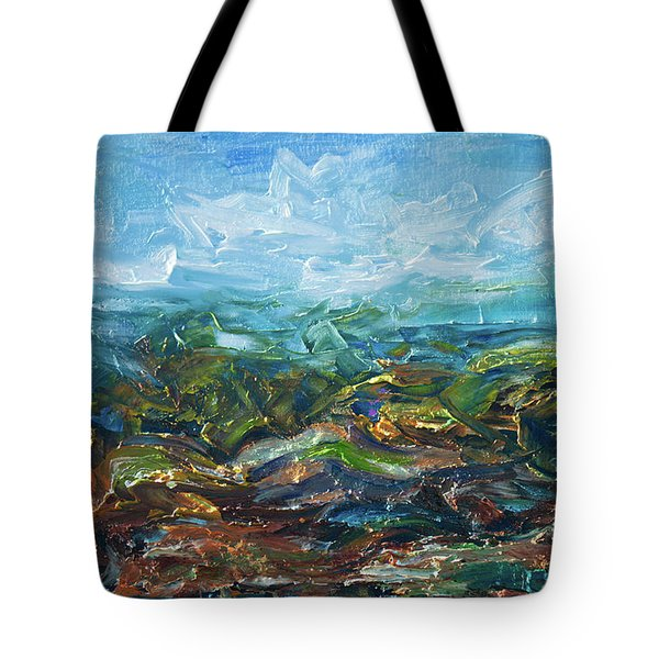 Tote Bag featuring the painting Windy Day In The Grassland. Original Oil Painting Impressionist Landscape. by OLena Art Brand