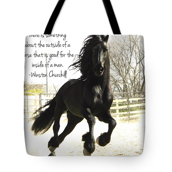 Winston Churchill Horse Quote Tote Bag