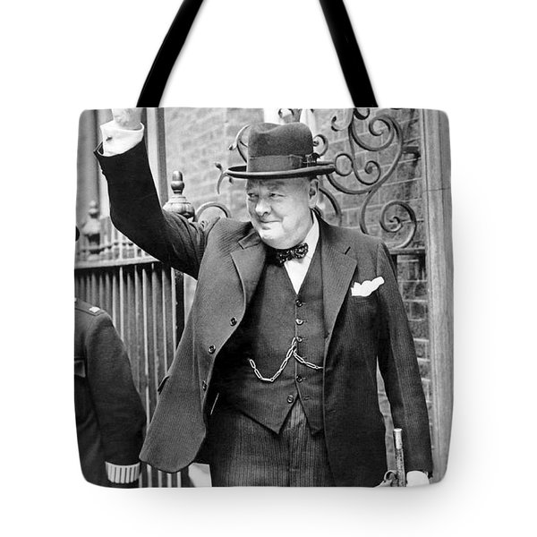 Winston Churchill Showing The V Sign Tote Bag
