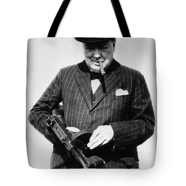 Winston Churchill With Tommy Gun Tote Bag