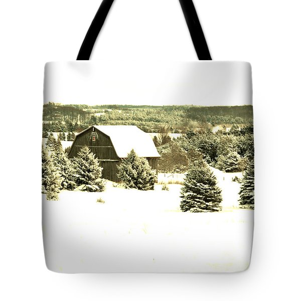 Tote Bag featuring the photograph Winter Barn by SimplyCMB