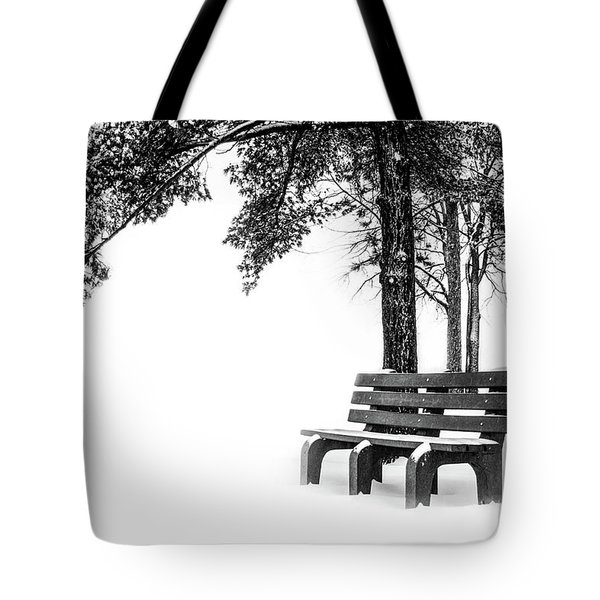 Tote Bag featuring the photograph Winter Bench  by Michael Arend