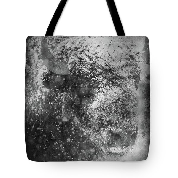 Winter Bison Tote Bag