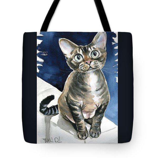 Winter Devon Rex Cat Painting Tote Bag