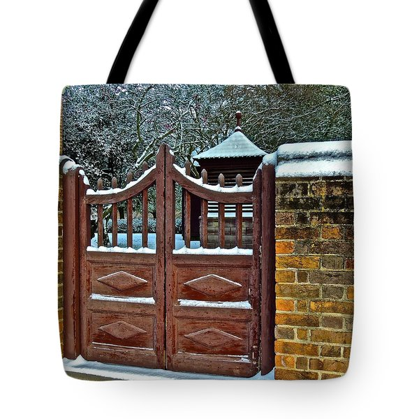 Tote Bag featuring the photograph Winter Gate by Don Moore