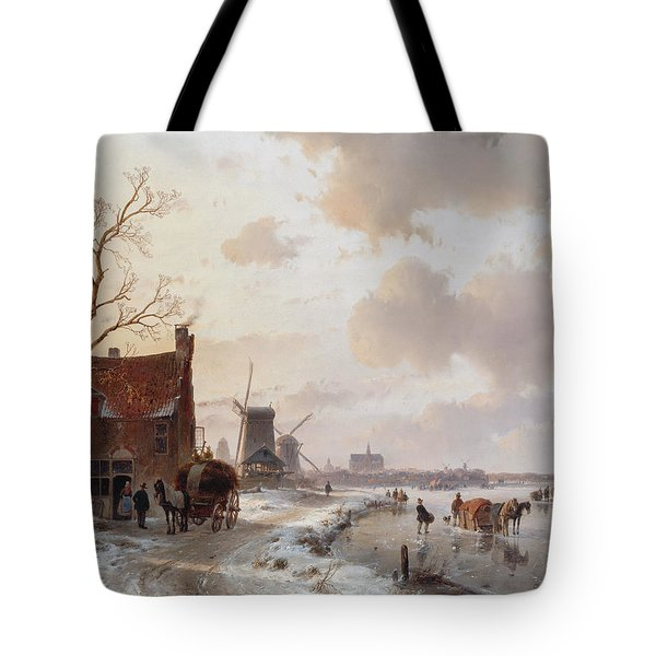 Winter Landscape With Horses On The Ice Tote Bag