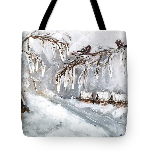 Tote Bag featuring the painting Winter by Miroslaw  Chelchowski