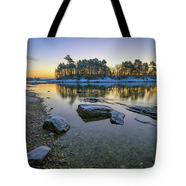 Winter Morning In Wolfe's Neck Woods Tote Bag