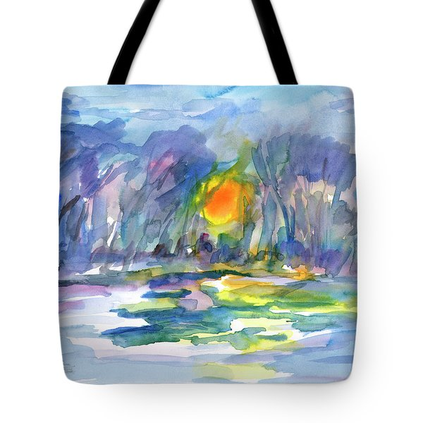 Tote Bag featuring the painting Winter Morning Landscape by Dobrotsvet Art