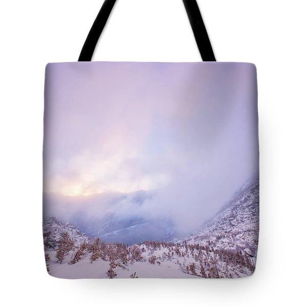 Winter Morning Light Tuckerman Ravine Tote Bag