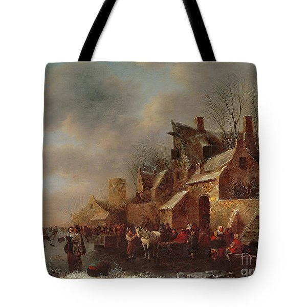 Winter Scene On Ice, 17th Century Tote Bag