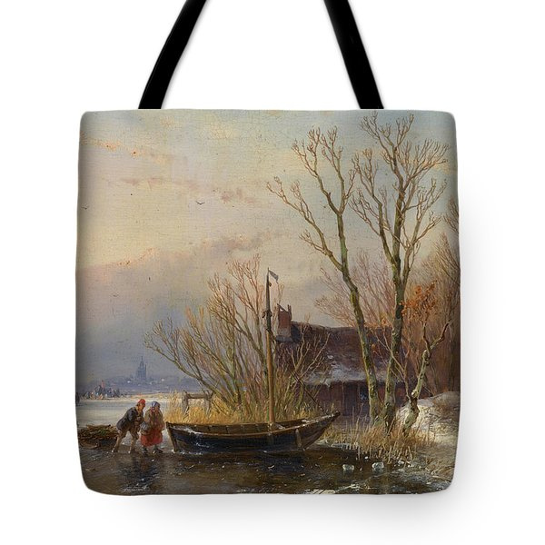 Winter Scene On The Ice With Wood Gatherers Tote Bag
