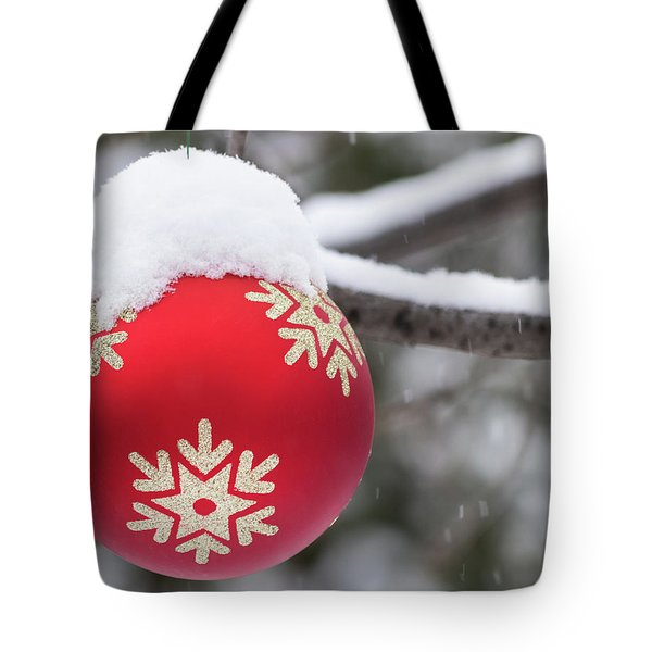 Tote Bag featuring the photograph Winter Scene - Red Christmas Ball Outside, With Snow On It by Cristina Stefan