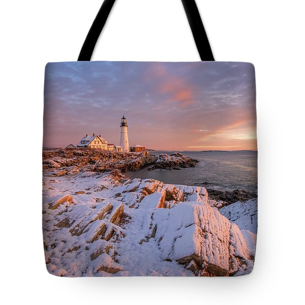 Winter Sunrise At Portland Head Light Tote Bag